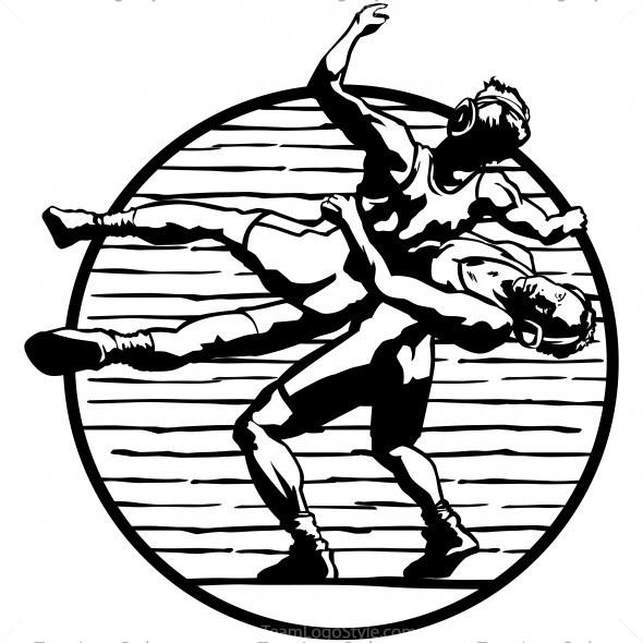Vector wrestling clip art clipart wrestlers mid throw.