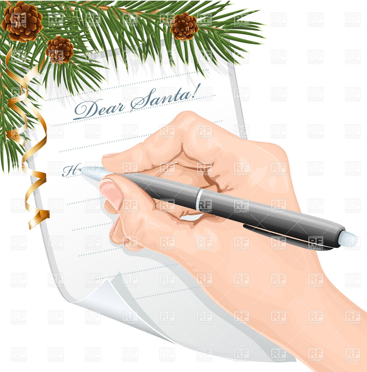 Child's hand with pen writing letter to Santa Claus Stock Vector Image.