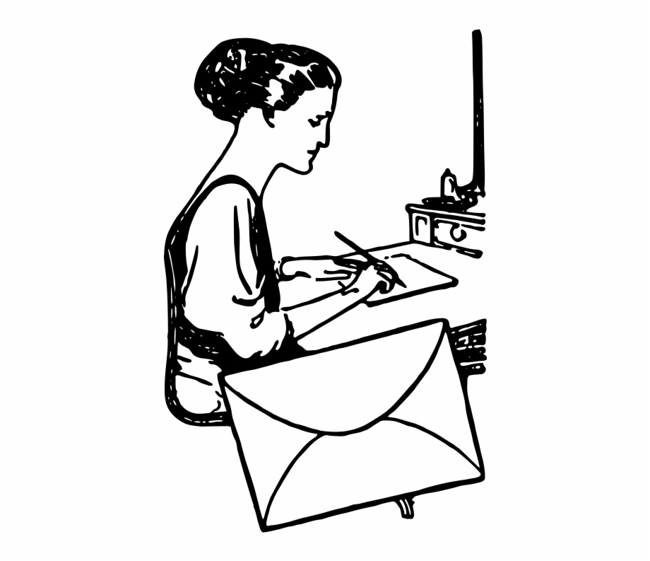Graphic Black And White Download Woman Writing A Letter.