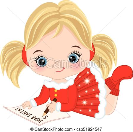Vector Cute Little Girl Writing Letter to Santa.