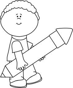 Image result for cartoon kids writing black and white.