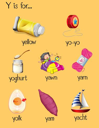 Many words begin with letter Y.