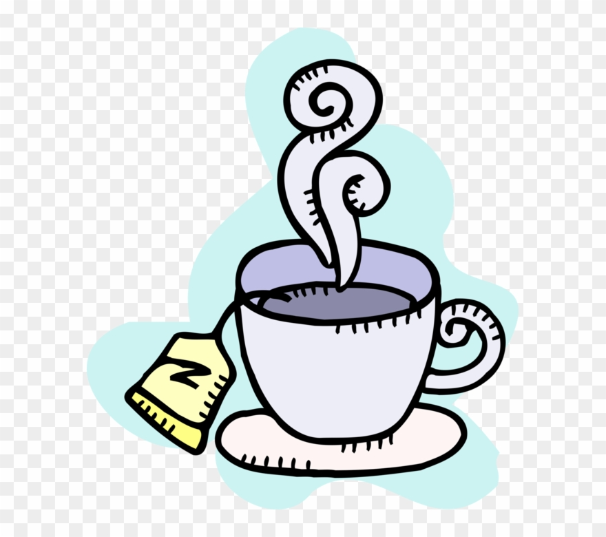 Vector Illustration Of Hot Cup Of Tea In Teacup With.