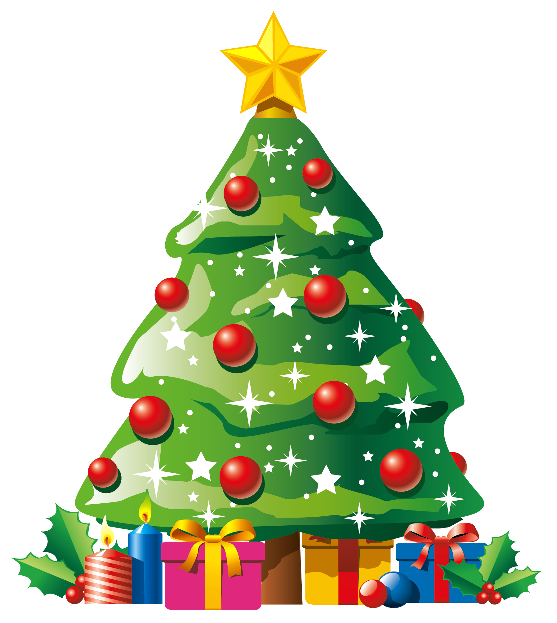 Transparent Deco Christmas Tree with Gifts Clipart.