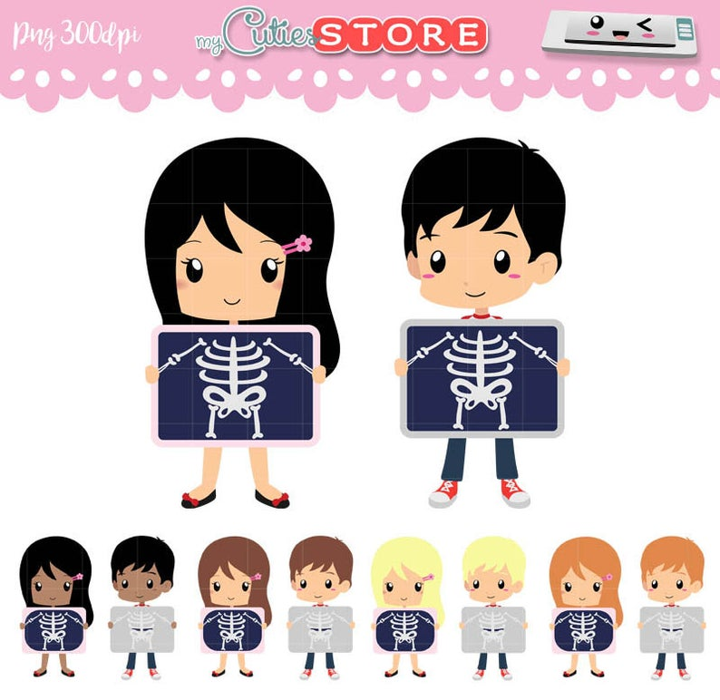Chibi XRay Clipart Set. PNG graphics. Medical Infographics for kids,  school, scrapbooking, papercrafts. Commercial Use Ok..