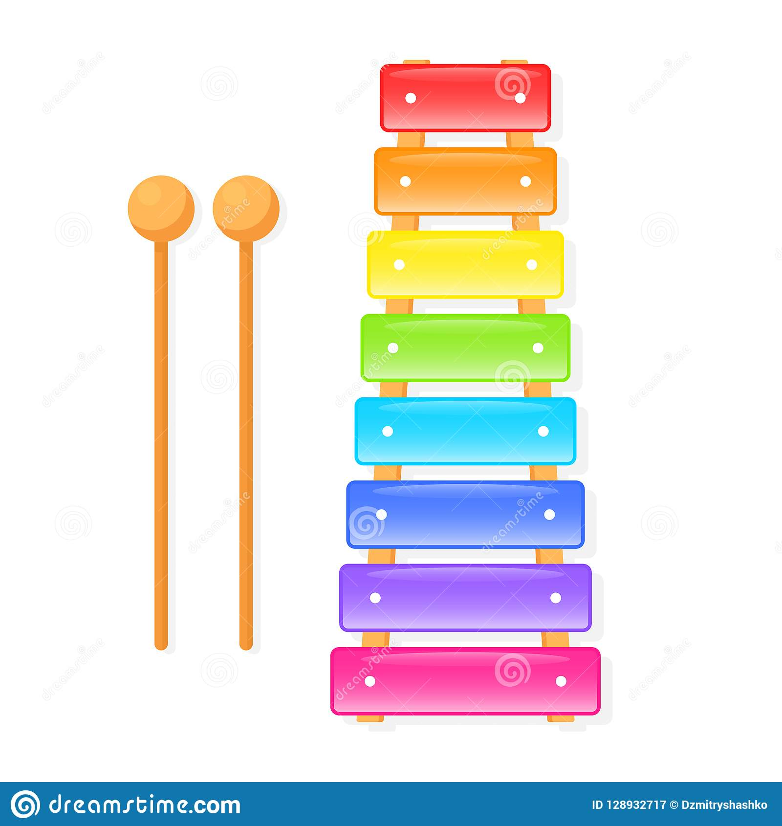 Xylophone colorful icon stock vector. Illustration of drawing.