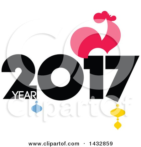 Clipart of a 2017 Year of the Rooster Chinese Zodiac Design.