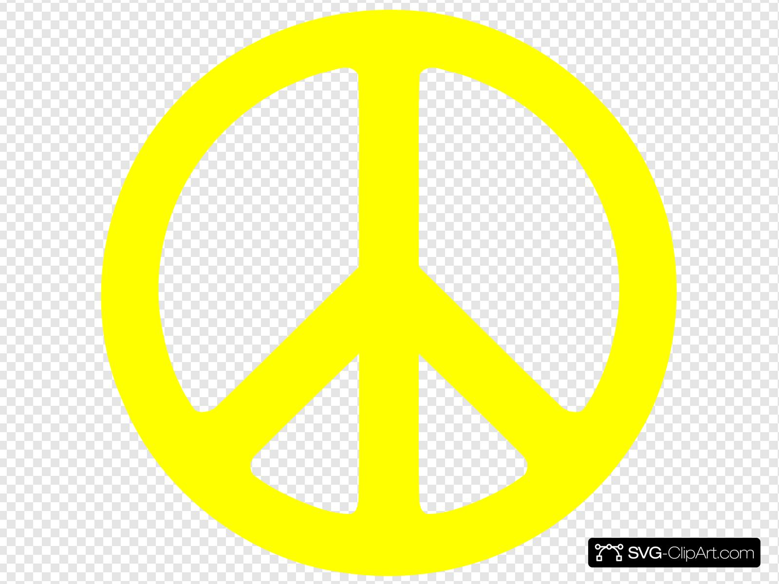 Yellow Peace Sign Clip art, Icon and SVG.