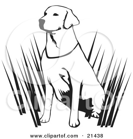 Clipart Illustration of a Friendly Yellow Lab Dog Grinning by.