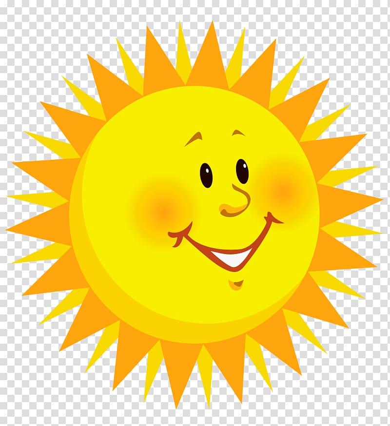 Smiley , Smiling Sun , yellow sun illustration transparent.