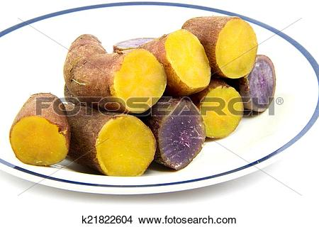 Stock Photo of Boiled purple and yellow yams line up in dish on.