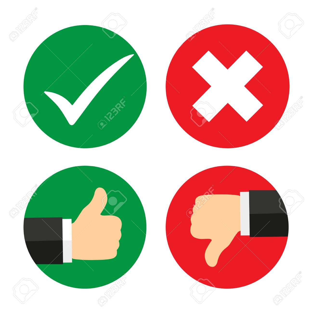 Yes, No, Thumbs up and down icons.