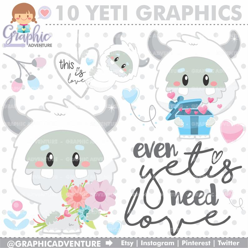 Yeti Clipart, Yeti Graphics, Monster Clipart, COMMERCIAL USE, Abominable  Snowman Clipart, Love Clipart, Love Graphics, Flowers Clipart, Yeti.