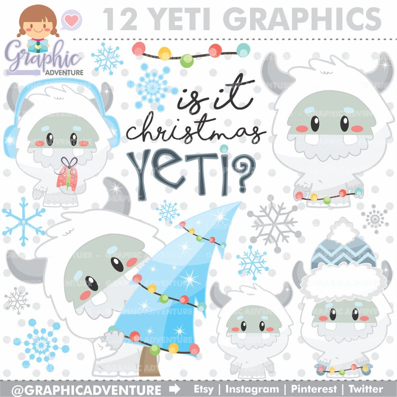 Yeti Clipart, Yeti Winter Clipart, Christmas Clip Art, COMMERCIAL USE,  Monster Clipart, Abominable Snowman, Clip Art for Scrapbooking, Yeti.