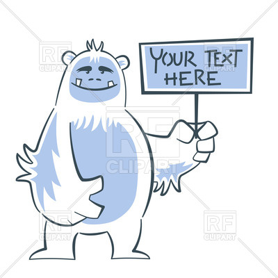 Happy yeti holds sign Vector Image.