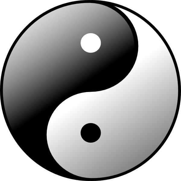 Yin Yang clip art Free vector in Open office drawing svg.