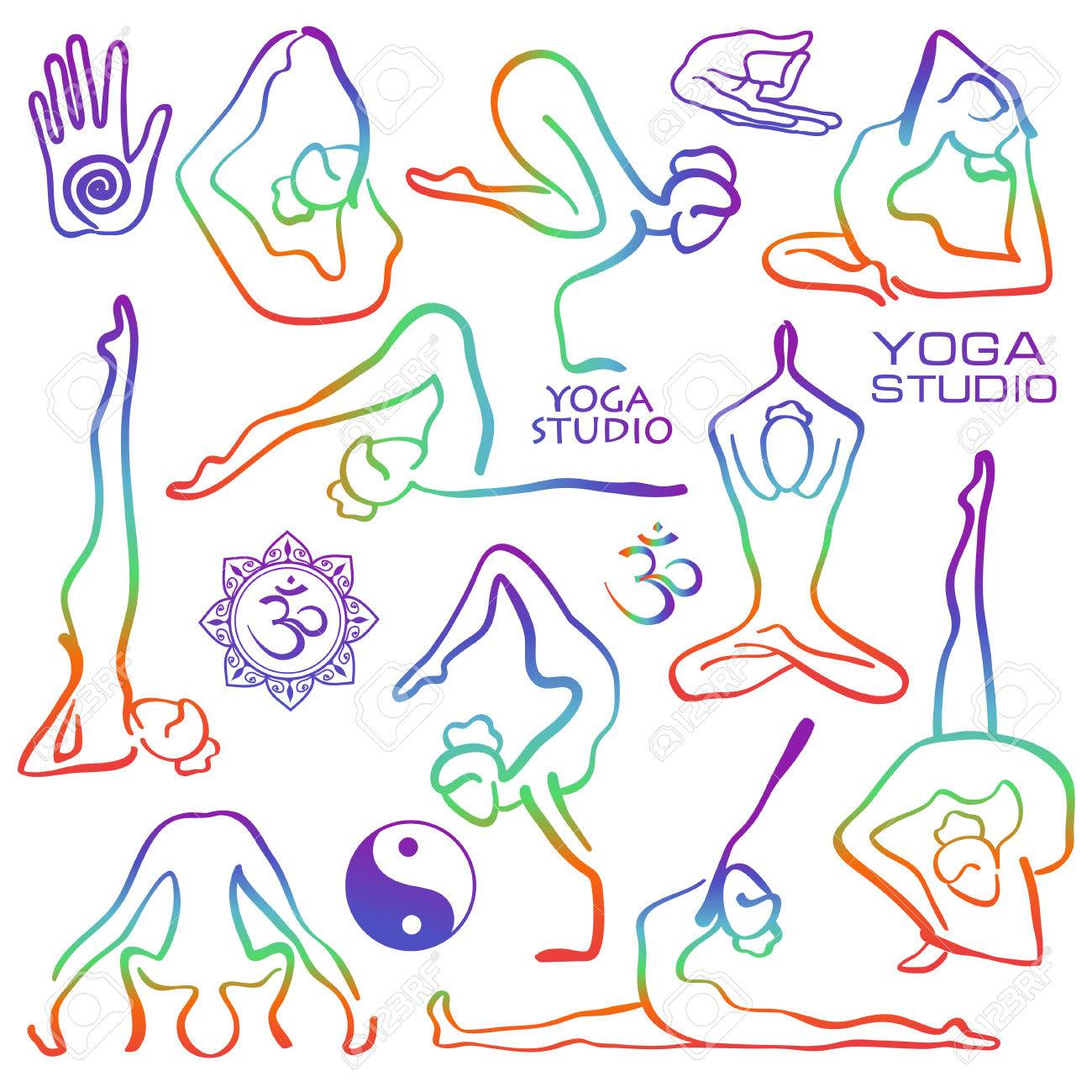 Set of isolated rainbow hand drawn outline yoga poses. Collection...