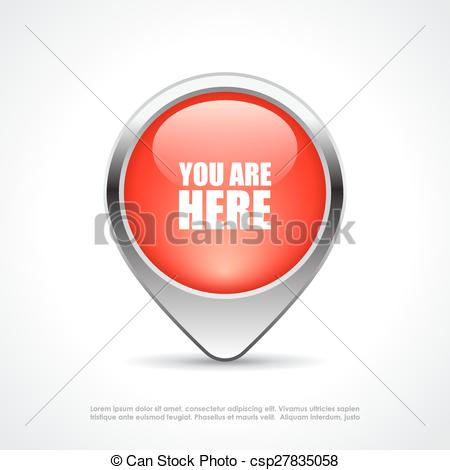 Clipart Vector of You are here map marker.