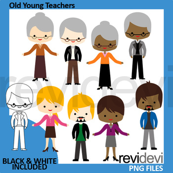 Meet the teachers clip art / old young people clipart.
