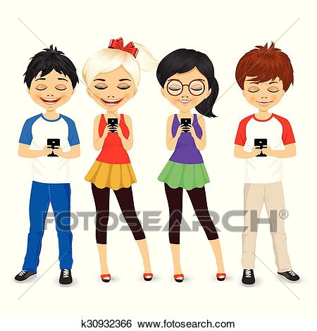 Young people using mobile phones Clip Art.