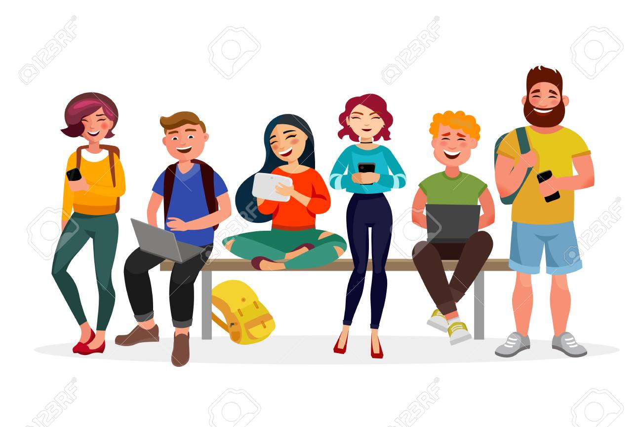 Young people gather together with gadgets. Youth spending time,...