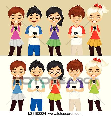 Young people using mobile phones Clipart.