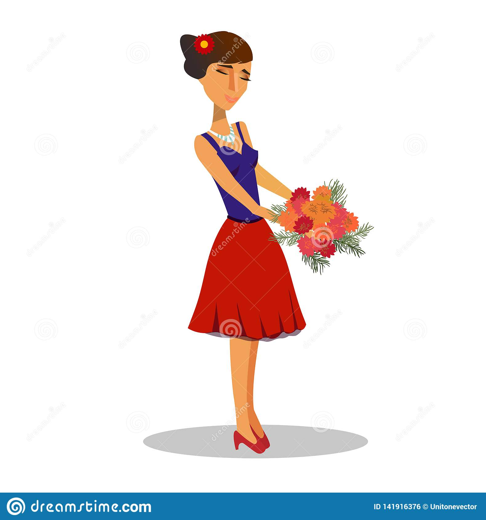 Young Girl With Bunch Of Flowers Vector Clipart Stock Vector.