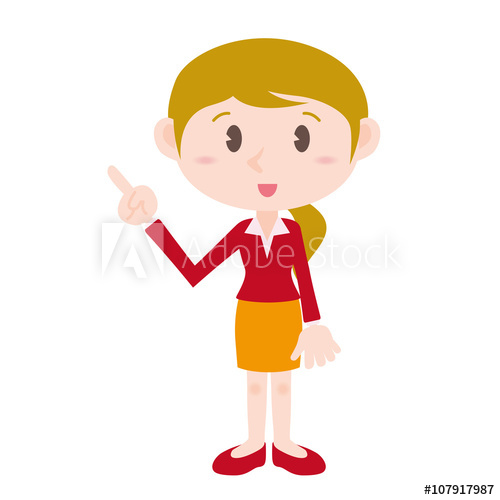 blonde young woman cartoon character pointing hand sign clip art.