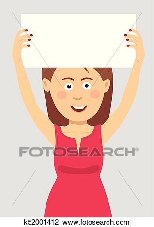 Young woman holding an empty blank board over her head Clipart.