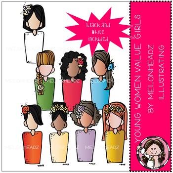 Young Women Value girls clip art.