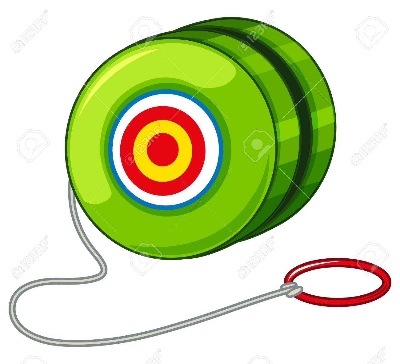 Green yoyo with red ring illustration.
