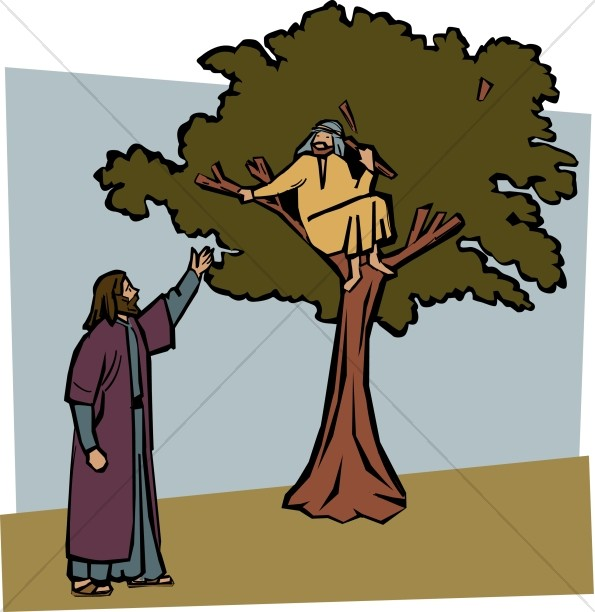 Jesus Invites Zacchaeus Down from the Tree.