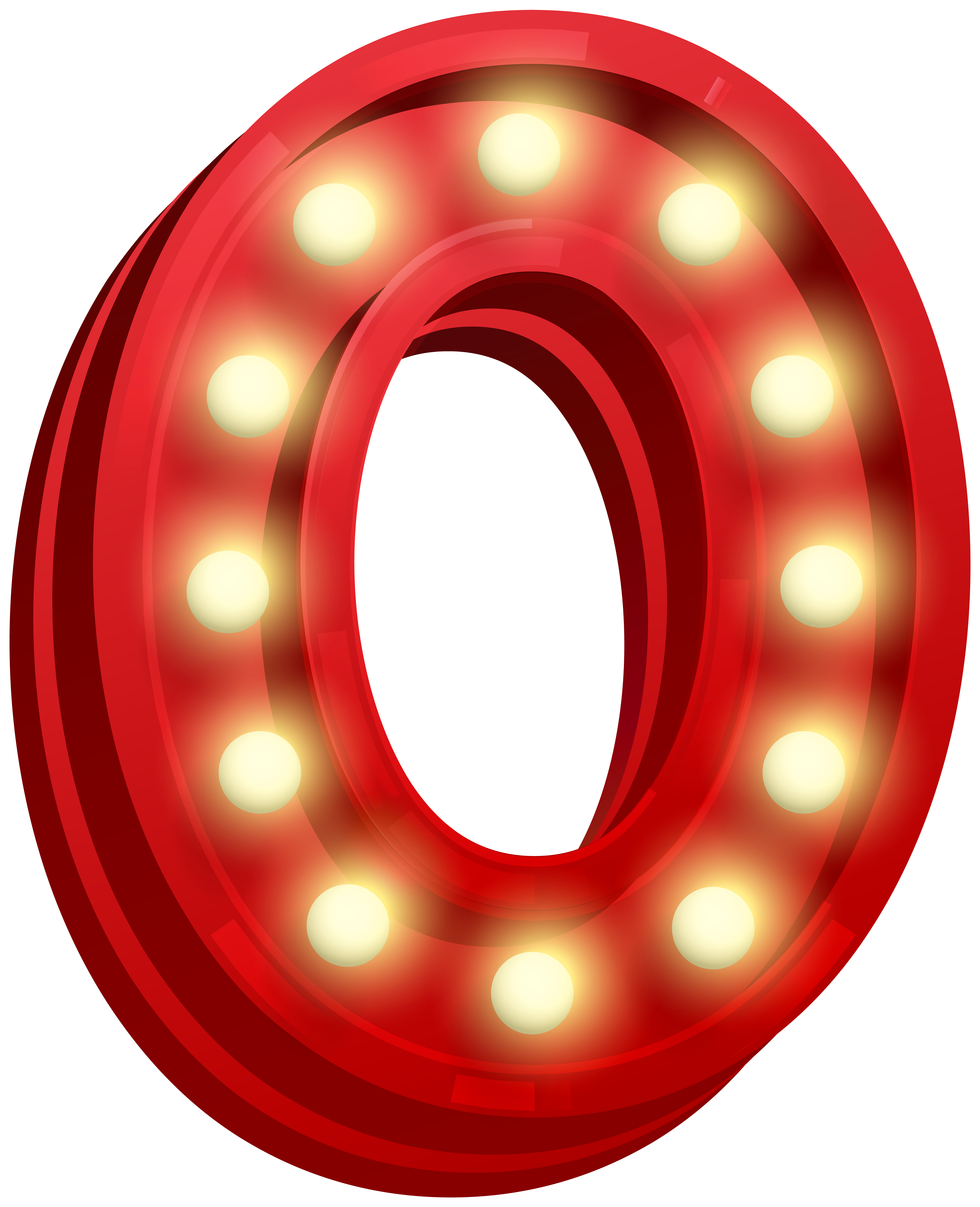 Number Zero Glowing PNG Clip Art Image.