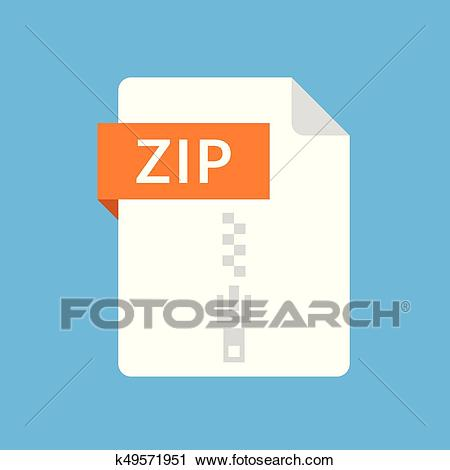 ZIP file icon. Archive document type. Modern flat design graphic  illustration. Vector ZIP icon Clipart.