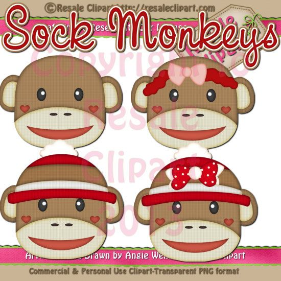 Sock Monkey Clipart Digital ZIP File Download by MaddieZee.