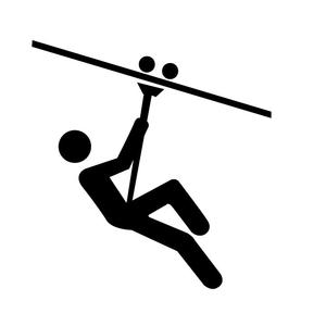 Ziplining Icon clip art.