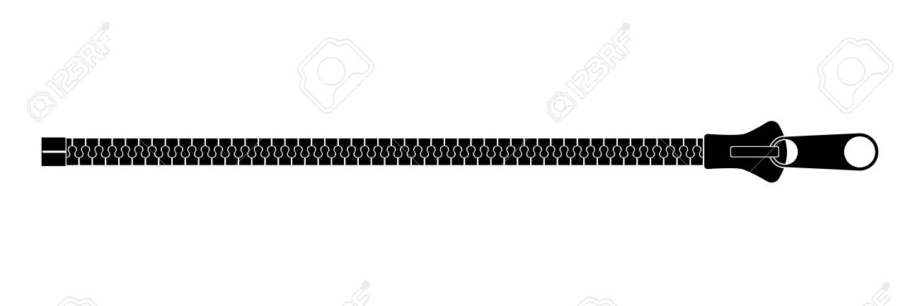Clothing fastener flat vector illustration. Close up open zipper...