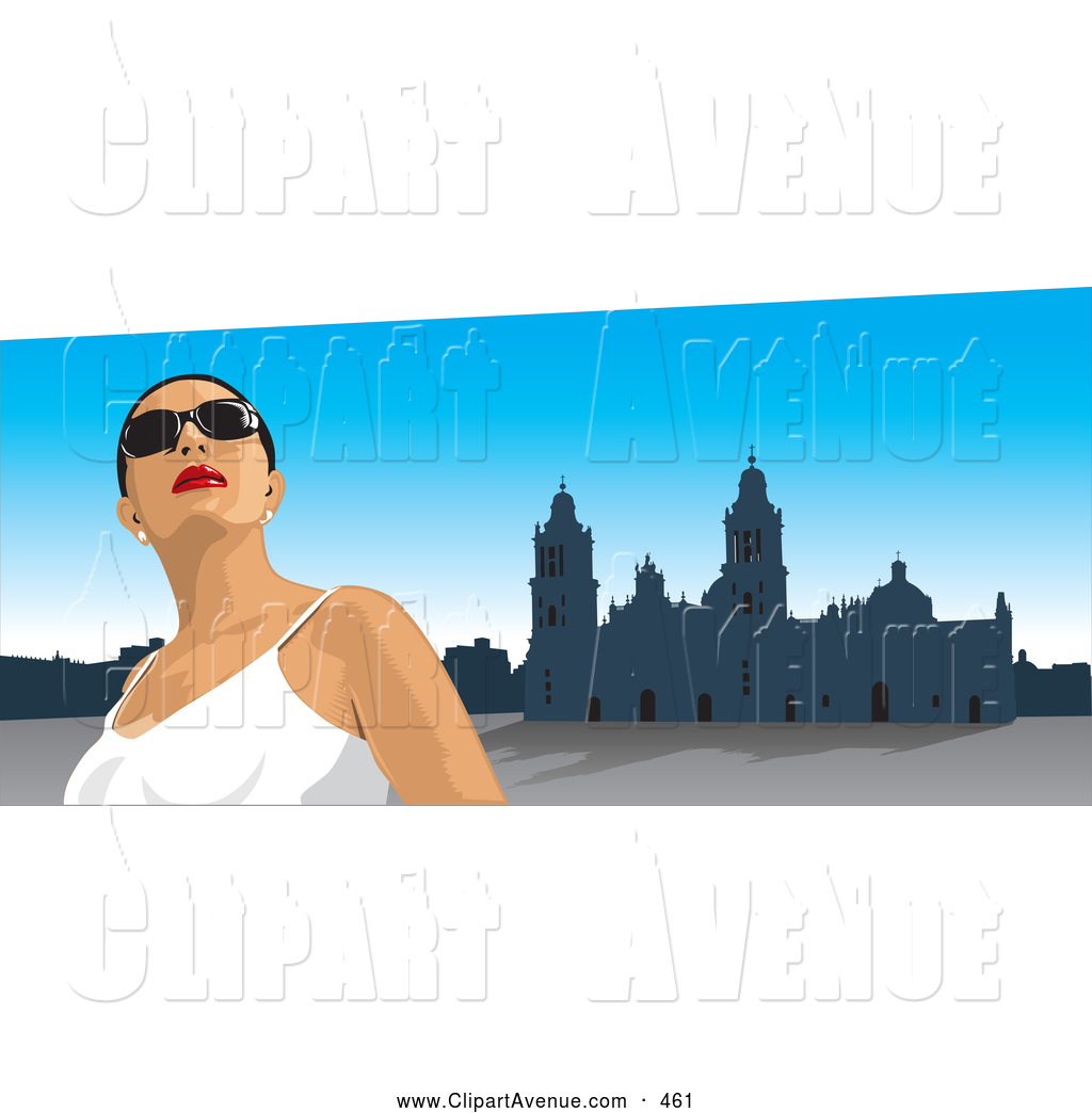 Avenue Clipart of a Pretty Female Tourist Wearing Shades.