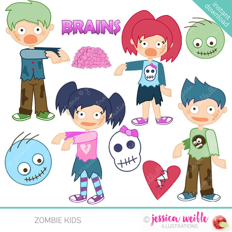 Zombie Kids Cute Digital Clipart.