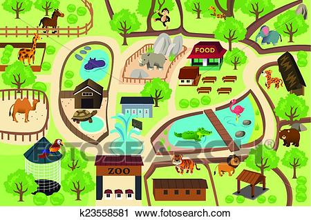 Map of a zoo park Clipart.
