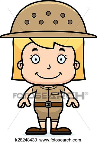 Cartoon Smiling Zookeeper Girl Clipart.