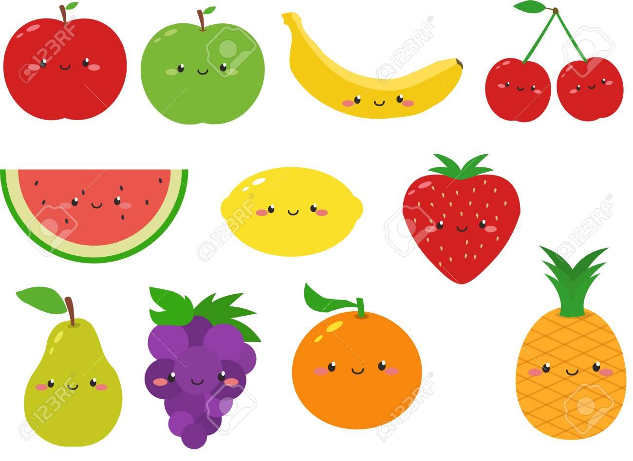 Cute Fruit Cartoon Clipart.
