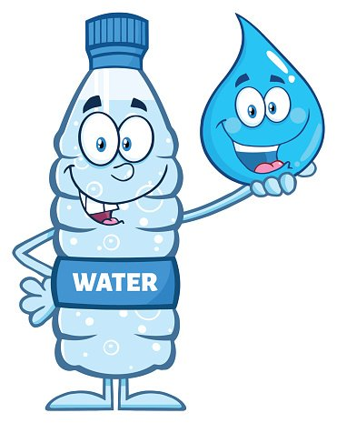 Water Bottle Holding A Water Drop premium clipart.
