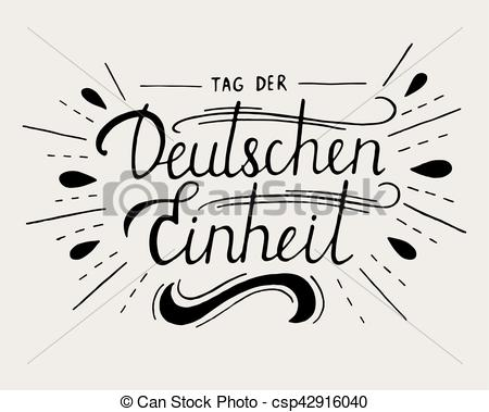 EPS Vector of Day of German unity lettering. Tag der deutschen.