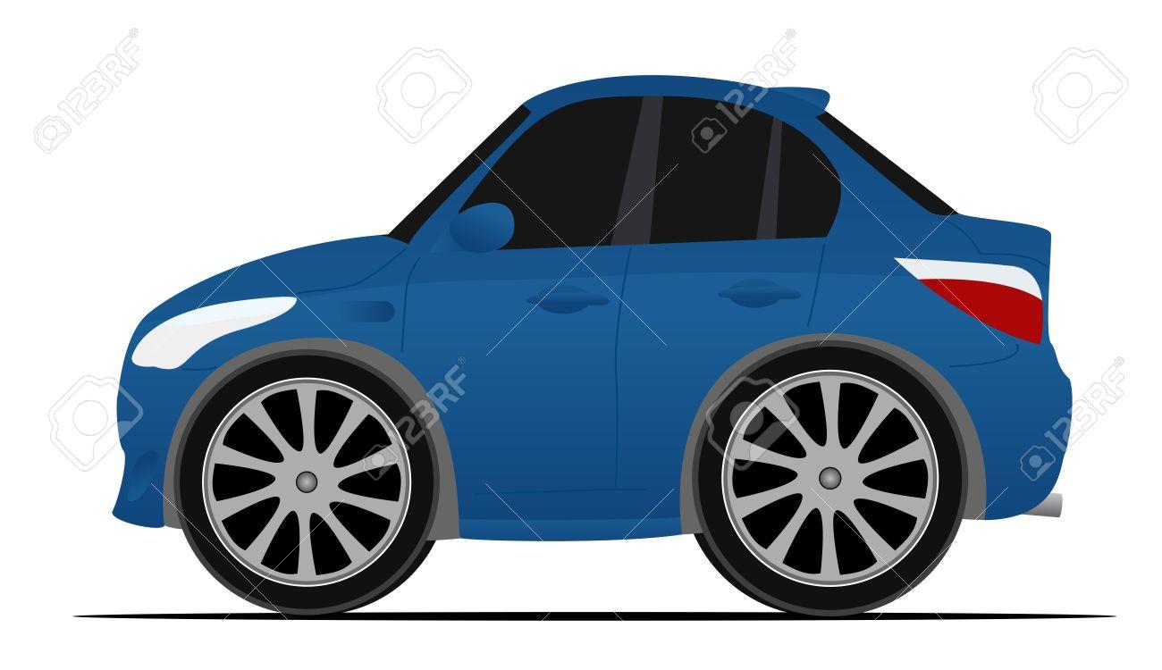 Mini Carro Esporte Azul, Em Movimento Rápido Royalty Free Cliparts.