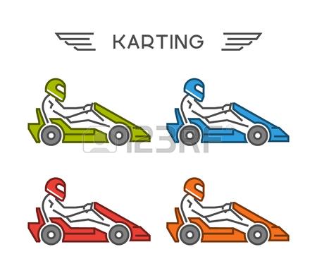 Símbolo Kart Esboço Movimento Moderno. Vector Figuras Piloto Art.