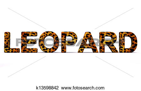 Clip Art of leopard word with fur k13598842.