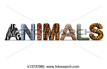 Stock Illustration of Word ANIMALS with fur letters. k13737985.