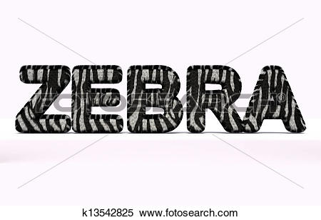 Stock Illustration of word zebra with fur style k13542825.