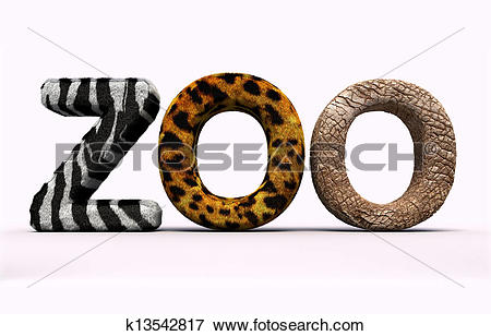 Stock Illustration of Word zoo with fur letters. k13542817.